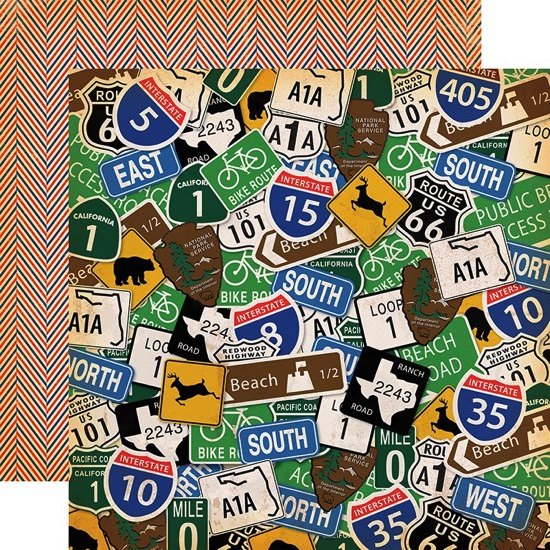 Road Signs 12x12 Double Sided Scrapbooking Paper
