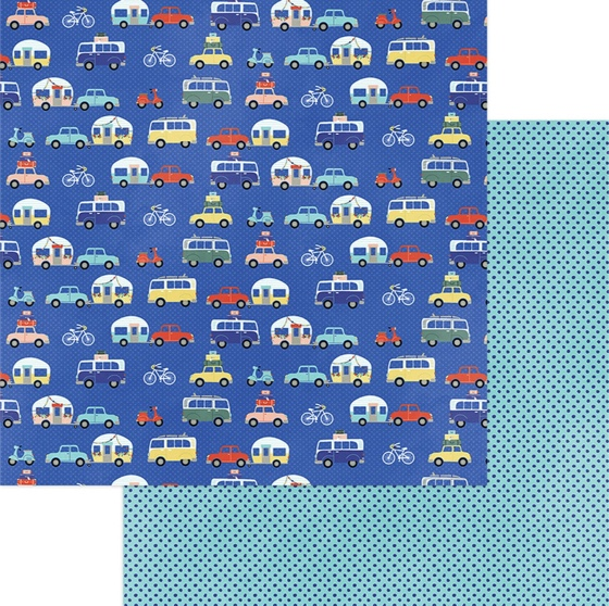 Road Trip Double Sided 12x12 Scrapbooking Paper
