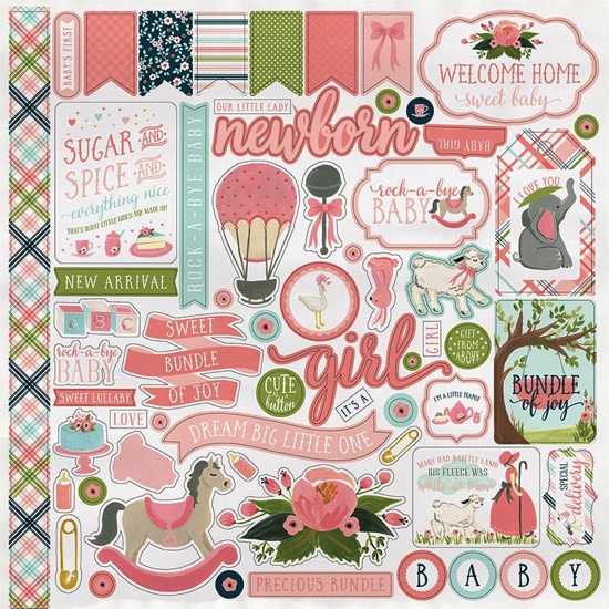 Rock a Bye Baby Girl 12x12 Cardstock Scrapbooking Stickers
