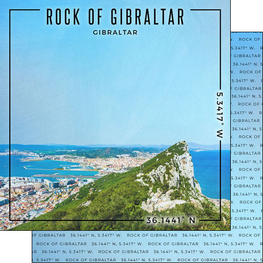 Rock of Gibraltar 12x12 Double Sided Scrapbooking Paper