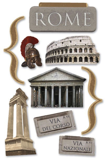 Rome 3D Glitter Scrapbooking Stickers