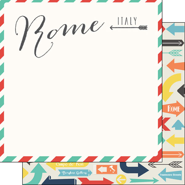 Rome Memories Arrows 12x12 Double Sided Scrapbooking Paper