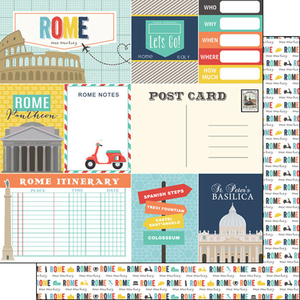 Rome Journal 12x12 Double Sided Scrapbooking Paper