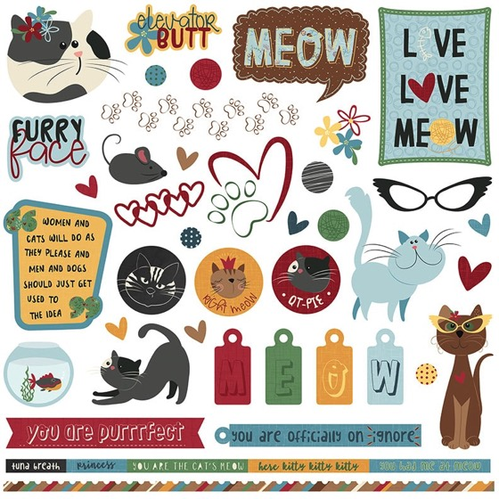 Roxie Cat 12x12 Cardstock Scrapbooking Stickers and Borders
