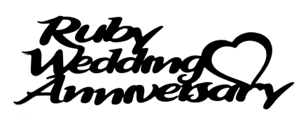 Ruby Wedding Anniversary Scrapbooking Laser Cut Title with Heart