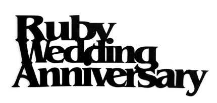 Ruby Wedding Anniversary Scrapbooking Laser Cut Title