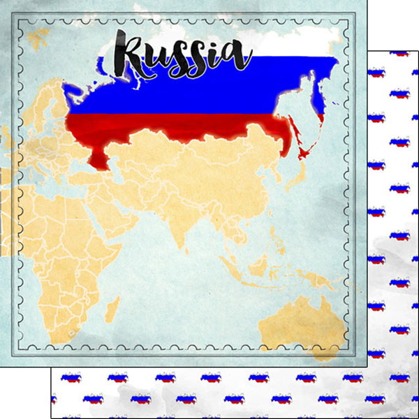 Russia Sights Map 12x12 Double Sided Scrapbooking Paper