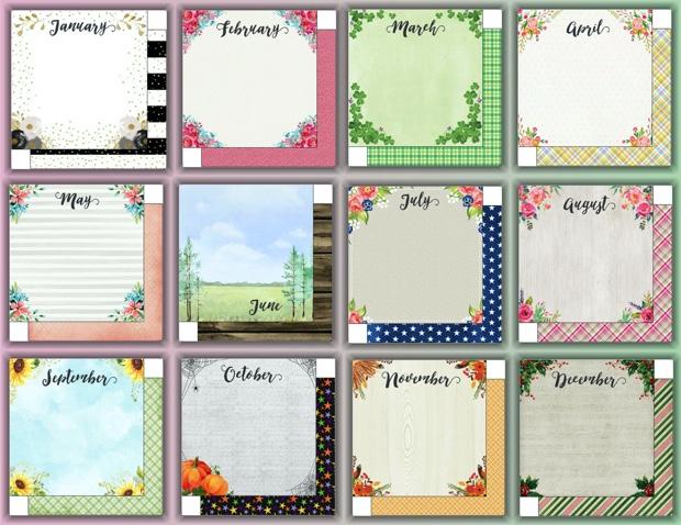 Twelve Months 12x12 Paper Scrapbooking Pack