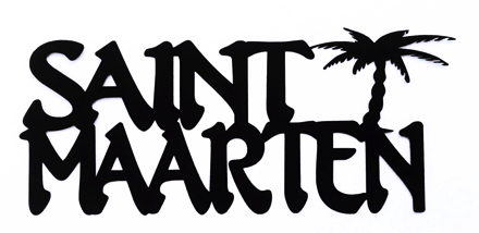 Saint Maarten Scrapbooking Laser Cut Title With Palm Tree