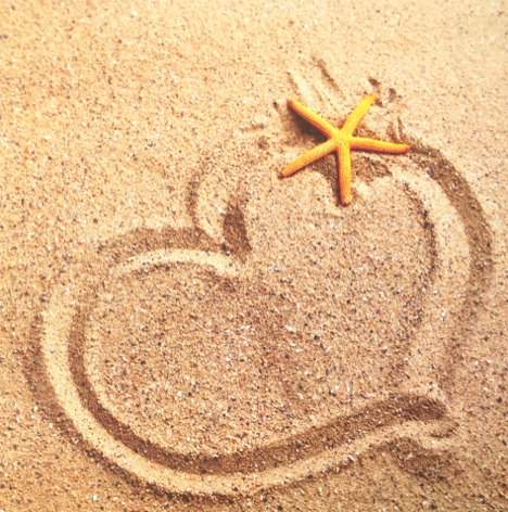 Sand Heart 12x12 Scrapbooking Paper