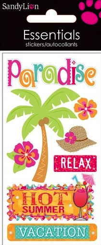 Tropical Vacation 3D Handmade Essentials Scrapbooking Stickers