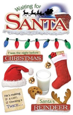 Santa 3D Glitter Scrapbooking Stickers