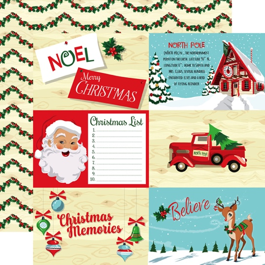 Santa 4x6 Journal Cards 12x12 Double Sided Scrapbooking Paper