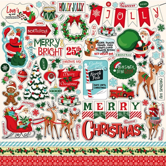 Santas Workshop 12x12 Cardstock Scrapbooking Stickers