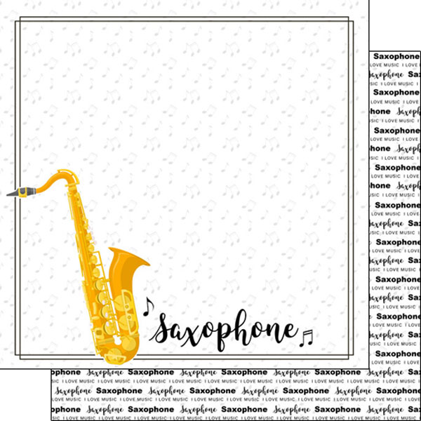 Saxophone 12x12 Double Sided Scrapbooking Paper