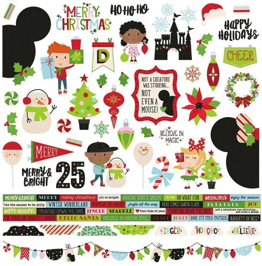 Say Cheese Christmas 12x12 Cardstock Scrapbooking Stickers