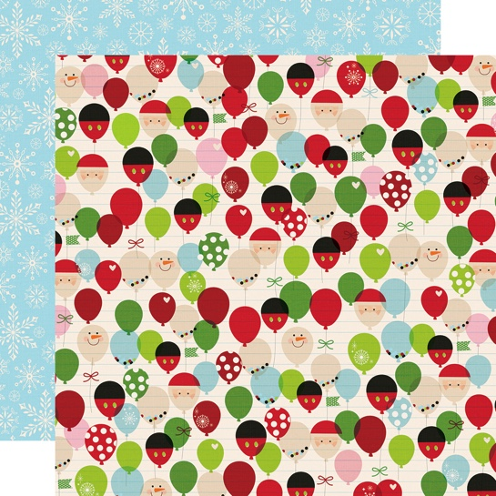 Magical Christmas Balloons Double Sided 12x12 Scrapbooking Paper