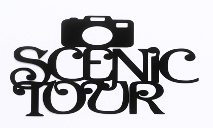 Scenic Tour Scrapbooking Laser Cut Title with camera