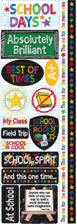 School Days Cardstock Scrapbooking Stickers and Borders