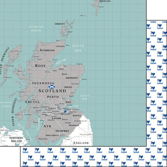 Scotland Adventure Map 12x12 Double Sided Scrapbooking Paper