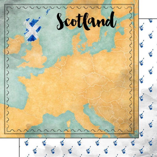 Scotland Sights Map 12x12 Double Sided Scrapbooking Paper