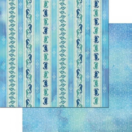 Down by the Sea Stripes Double Sided 12x12 Scrapbooking Paper