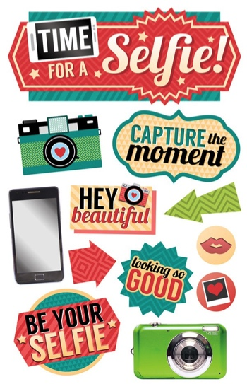 Time for a Selfie 3D Glitter Scrapbooking Stickers