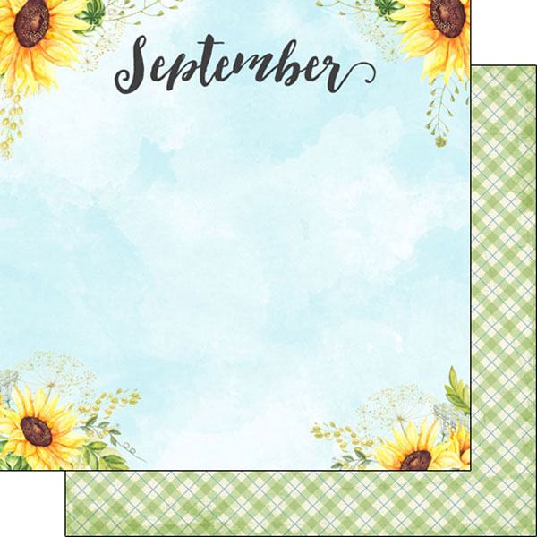 September 12x12 Double Sided Scrapbooking Paper