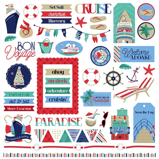 Set Sail 12x12 Cardstock Scrapbooking Stickers and Borders