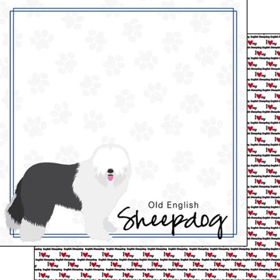 Sheepdog 12x12 Double Sided Scrapbooking Paper