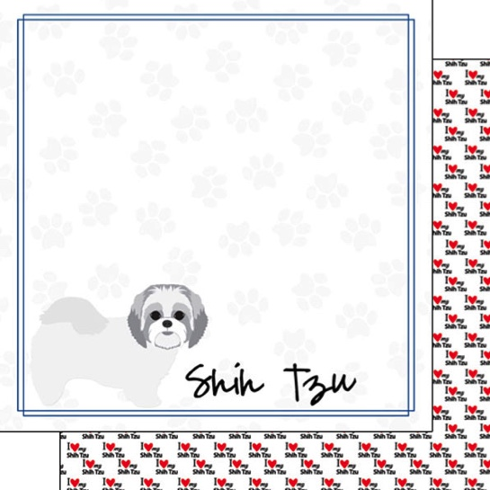 Shih Tzu 12x12 Double Sided Scrapbooking Paper