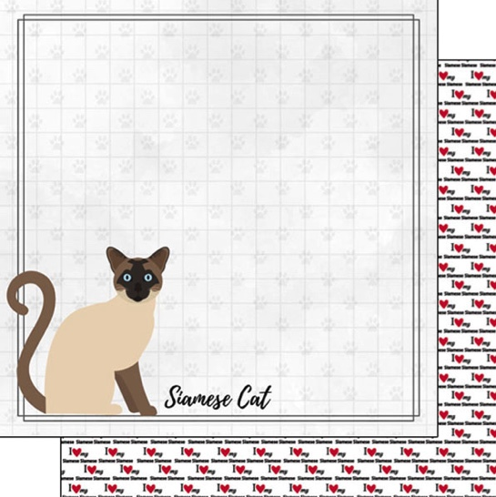 Siamese 12x12 Double Sided Scrapbooking Paper