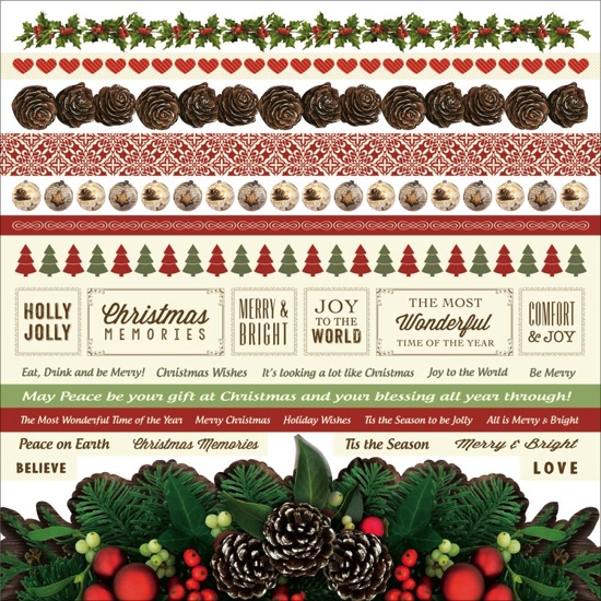 Silent Night 12x12 Cardstock Scrapbooking Stickers and Borders