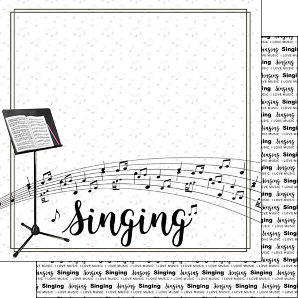 Singing 12x12 Double Sided Scrapbooking Paper