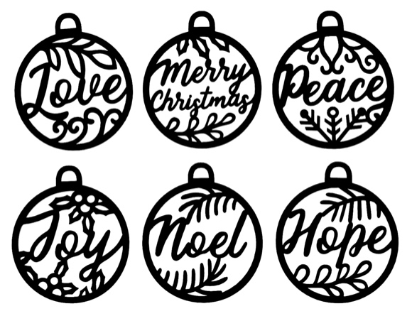 Christmas Baubles Six Intricate Laser Cuts