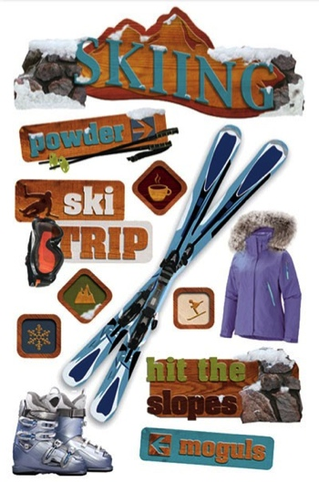 Skiing 3D Glitter Scrapbooking Stickers