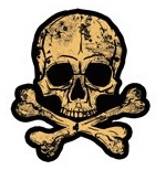 Skull and Cross Bones Scrapbooking die cut Sticker