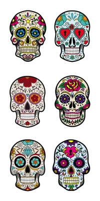 Colourful Skulls Scrapbooking Mini Stickers