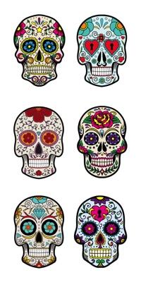 Colourful Skulls Scrapbooking Mini Stickers