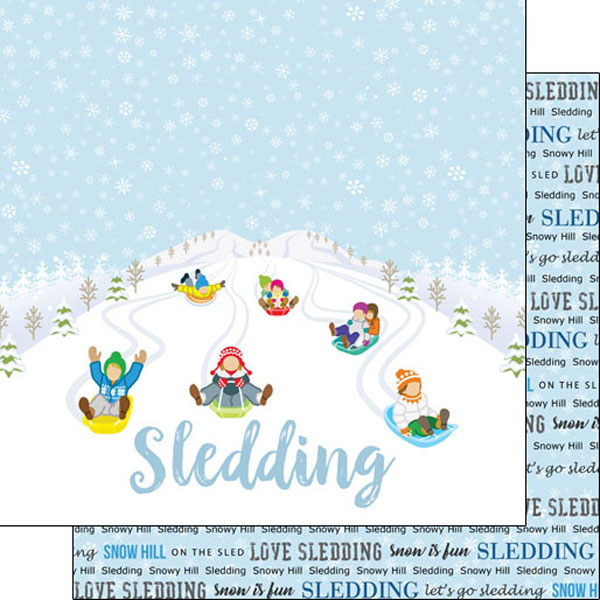 Sledding Winter Adventure 12x12 Double Sided Scrapbooking Paper