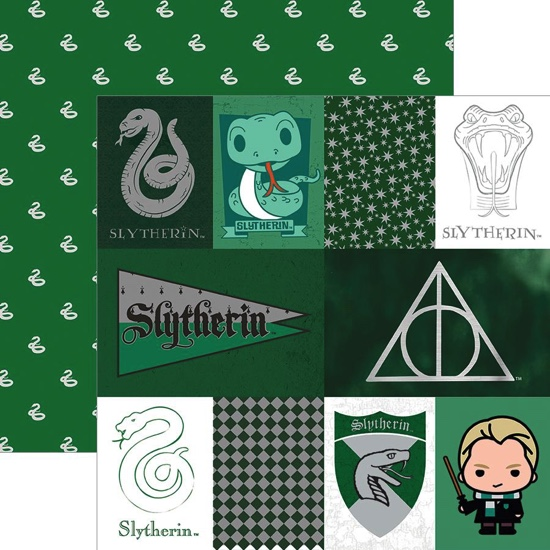 Slytherin Tags 12x12 Double Sided Scrapbooking Paper with Foil