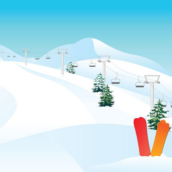 Snowboarding Mountain 12x12 Scrapbooking Paper