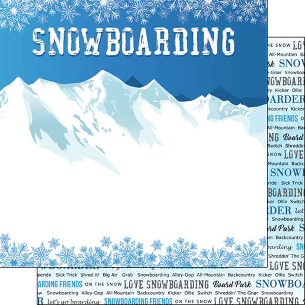 Snowboarding Winter Adventure 12x12 Double Sided Scrapbooking Paper