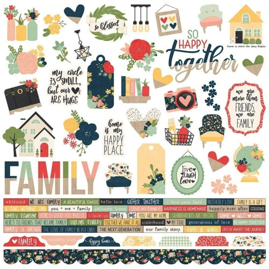 Family So Happy Together 12x12 Cardstock Scrapbooking Stickers