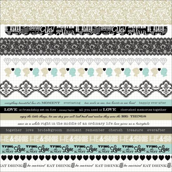 Something Blue Wedding 12x12 Cardstock Scrapbooking Sticker Borders