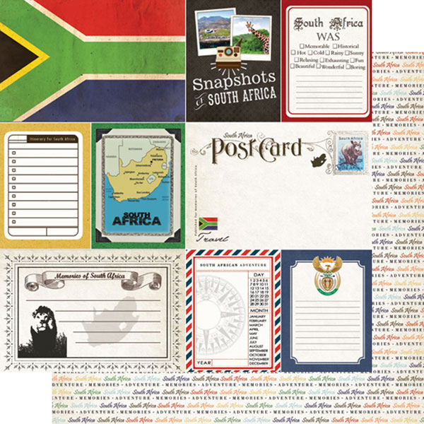 South Africa Journal 12x12 Double Sided Scrapbooking Paper
