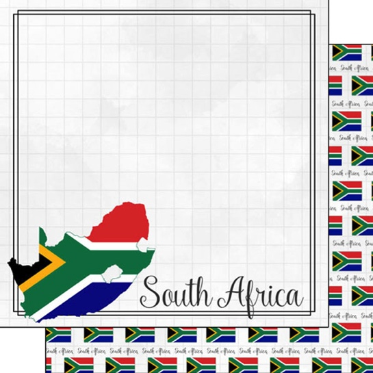 South Africa 12x12 Double Sided Scrapbooking Paper