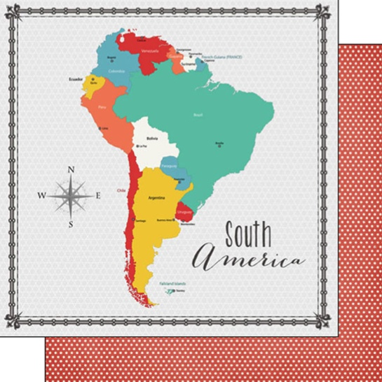 South America Memories Map 12x12 Double Sided Scrapbooking Paper