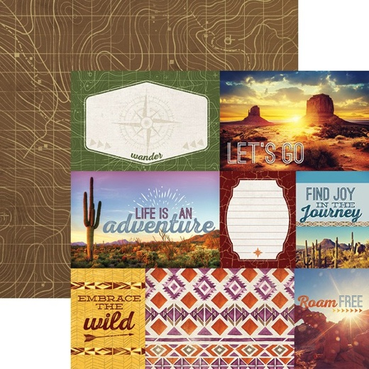 South West Adventure Tags 12x12 Double Sided Scrapbooking Paper