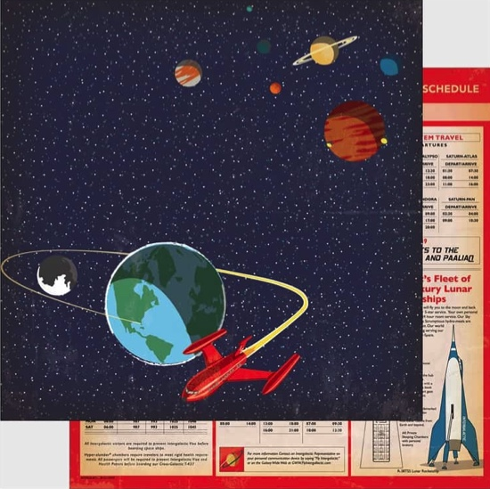 Space Academy 12x12 Double Sided Scrapbooking Paper